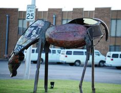 Scrap metal horse in Durant, Oklahoma Durant Oklahoma, Painted Horses, Roadside Attractions, Air Max, Scrap, Metal, Unique, Art, Art Background