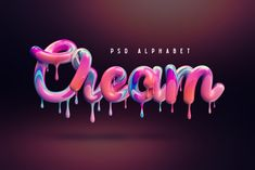 Introducing a colorful alphabet set with melted cream effect. It includes 52 PSD files with big and small letters on a transparent background. Also PNG format is available. Layered PSD template with background and shadow is included too Alphabet, 3d Typography, Lettering, Summer Typography, Typographie Fonts, Schrift Design, Cake Logo Design, Object Photography, Small Letters