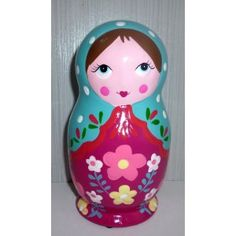 Money Box blue scarf red dress medium   #russiandoll #matryoshka #dollsindolls #decor #traditional #kids #toys #handmade