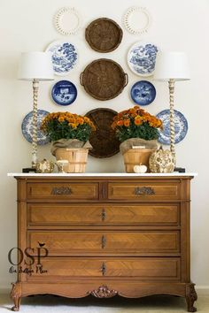 Fall Decor - Natural Elements: Potted Mums (love Bronze with the Blue & White Plates) - Best DIY Decorating Tips | Examples and ideas from On Sutton Place
