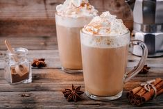 Buy Pumpkin spice latte with whipped cream and cinnamon by nblxer on PhotoDune. Pumpkin spice latte with whipped cream and cinnamon in glass on wooden background Diabetic Recipes, Snack Recipes, Healthy Recipes, Thm Recipes, Drink Recipes, Healthy Food, Healthy Eating, Food Tracker App, Homemade Chai Tea