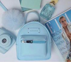 Blue bag, instax mini 8 on We Heart It Girly Backpacks, Cute Mini Backpacks, Stylish Backpacks, Grafea Backpack, Backpack Purse, Fashion Bags, Fashion Backpack, Guess Backpack, Diy Clothes And Shoes