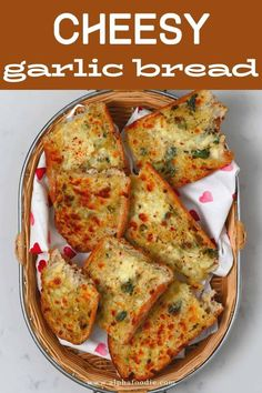 An easy cheesy garlic bread recipe (with vegan garlic bread version). All this quick ciabatta garlic bread needs is 7 ingredients and under 30 minutes for a delicious ooey-gooey, cheesy, garlicky side! Air Fryer garlic bread method included! Vegan Garlic Bread, Cheesy Garlic Bread, Bread Recipes, Vegan Recipes, How To Make Breakfast, Ciabatta, Vegan Cheese, Lunch, Meals