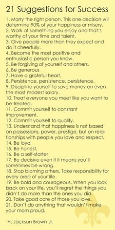 21 suggestions for success -- LOVE this