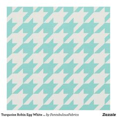 Turquoise Robin Egg White Houndstooth Pattern #2M Fabric