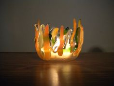 Peaches & Green Fused glass cande holder by ColleenGail on Etsy
