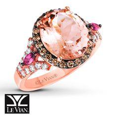 Le Vian® Peach Morganite™ Ring in Strawberry Gold® with accents of Chocolate Diamonds®, Vanilla Diamonds® and Raspberry Rhodolite®