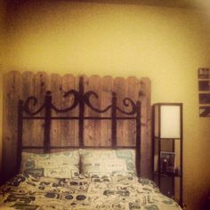 Old backyard fence, new headboard #diy #retro
