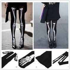 Skeleton Goth Stocking Pantyhose Punk Cute Tights Trendy Cosplay Costume