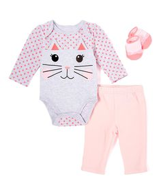 Another great find on #zulily! Pink & Purple Kitten Bodysuit Set by Vitamins Baby #zulilyfinds