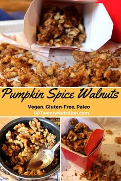 Pumpkin Spice Walnuts - these roasted spiced nuts make a healthy snack or a yummy topping for salads, yogurt and oatmeal. Recipe by Christy Brissette, media dietitian, 80 Twenty Nutrition http://www.80twentynutrition.com