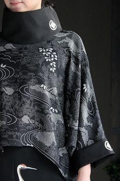 スタンドカラーショートプルオーバー - FURYU (フウリュウ) Knit Fashion, Kimono Fashion, Ethnic Fashion, Fashion Art, Autumn Fashion, Vintage Fashion, Fashion Outfits, Kimono Dress, Kimono Top