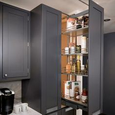 Kessebohmer Dispensa Pull-Out Pantry Frame, Full Extension, 265 lbs. Weight Capacity, Silver, installed height 74 to 90 Kitchen Pantry Cabinets, Kitchen Organization Pantry, Kitchen Reno, Kitchen And Bath, Kitchen Storage, Kitchen Remodel, Kitchen Ideas, Corner Cabinets, Warm Kitchen