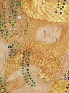 Detail Of Water Serpents I Painting by Gustav Klimt