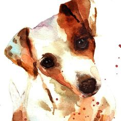 JACK RUSSELL DOG watercolor print - Terrier Trouble! 8x10 inches - portrait format This is my JRT dog Dotty - an absolute dog angel with sweet