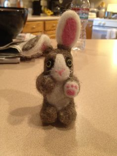 Needle felted bunny made by me!