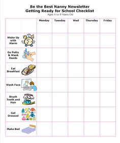 School Age Daily Nanny Log  Essential Nanny Paperwork