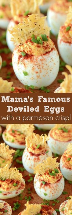 My Mama's famous deviled eggs with a cheesy parmesan crisp on top! My Mama's famous deviled eggs with a cheesy parmesan crisp on top! Egg Appetizers Recipe, Delicious Deviled Egg Recipe, Deviled Eggs Recipe, Best Appetizers, Egg Recipes, Snack Recipes, Cooking Recipes, Snacks, Breakfast Recipes