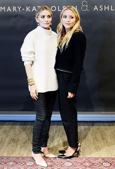 On Ashley Olsen: Chunky knit, skinny jeans, and slingback heels; On Mary-Kate Olsen: Black cropped jacket, black trousers, and black slingback heels