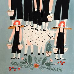 Emily Isabella, illustration, christmas, colour, print, painting, design, eight maids milking