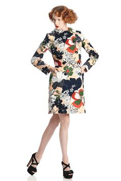 Spring 2013 Trend: Miss Matched  (Raoul's cotton and spandex coat over a matching sleeveless pleated dress. Jill Stuart shoes.)