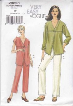 Vogue Sewing Pattern 8090 Misses Size 8-14 Easy Button Front Top Jacket Long Pants  $18.99