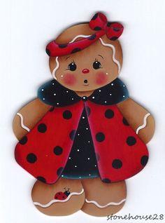 HP GINGERBREAD Ladybug Dress FRIDGE MAGNET #Handpainted