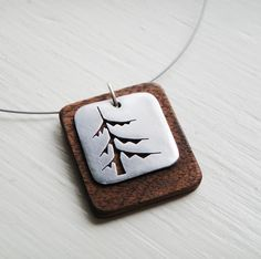 Pine Square Cutout Neckwire Necklace in Walnut -- Modern Woods