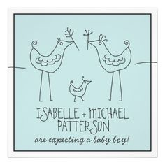 Funky Birds Modern Family Couples Baby Boy Shower Personalized Invitation