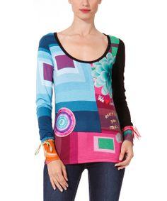 Black & Pink Geometric Scoop Neck Top - Women