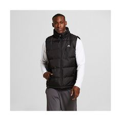 Men's Midweight Puffer Vest Black ($32) ❤ liked on Polyvore featuring men's fashion, men's clothing, men's outerwear, men's vests, black, mens hooded puffer vest, mens puff vest, mens vest outerwear, mens puffer vest and mens puffy vest