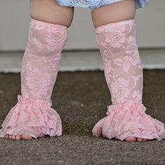Baby Ruffle Lace Leg Warmers Baby Pink Lace leg by PoshPeanutKids