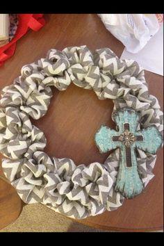 Chevron Burlap wreath | Wreath