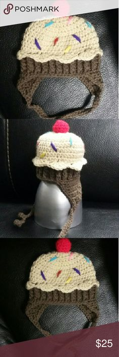 Handmade Cupcake Earflap Beanie (0-3months) Can be made in all children's sizes Accessories Hats