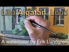 Lilla Algatan, Lund - A watercolor by Erik Lundgren