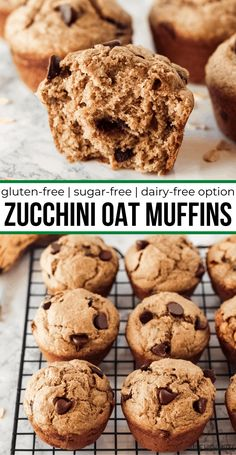 This easy Zucchini Oat Muffin recipe makes healthy gluten-free muffins with shredded zucchini, cinnamon, and a hint of nutmeg. The muffins are only sweetened by natural sweeteners (banana and applesauce) making these sugar-free too! And don't forget the chocolate chips for fun! Gluten Free Recipes For Breakfast, Healthy Gluten Free Recipes, Thm Recipes, Gluten Free Breakfasts, Healthy Breakfasts, Gluten Free Baking, Muffin Recipes, Diabetic Recipes, Healthy Desserts