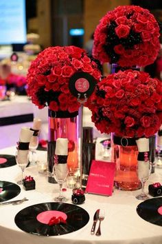 Wedding, Flowers, Reception, Pink, Ceremony, Red, Black, Cathyflowercom - Project Wedding