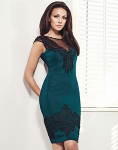 Michelle Keegan V Neck Lace Shift Dress