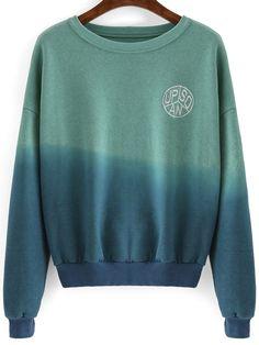 Buy Green Blue Ombre Round Neck Crop Sweatshirt from shein.com, FREE shipping Worldwide - Fashion Clothing, Latest Street Fashion At  shein.com