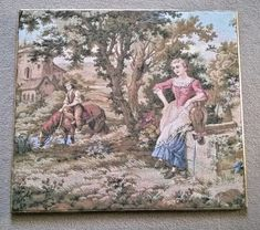 Attractive embroidered picture - pastoral type scene. Discovered in France