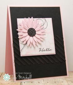 card flower sunflower MFT sunflower Die-namics pink flower white square honeycomb with stencil paste black with stencil paste Card Making Inspiration, Making Ideas, Embossed Cards, Beautiful Handmade Cards, Card Sketches, Card Tags, Artisanal, Flower Cards, Creative Cards
