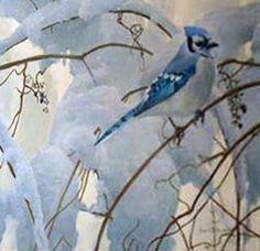 "Artist/Naturalist ROBERT BATEMAN (Canadian: 1930) | Painting...Original Painting ""Snowy Morning Blue Jay"""