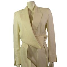 Vintage John Galliano White Linen Tuxedo Suit by Palettelondon