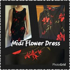 Midi flower dress This is a beautifully made black midi dress with red and green flowers. It is made in the U.S of rayon. Please let me know of any questions. Thank you for taking a look. Please feel free to make an offer. Donna Ricco Dresses Midi