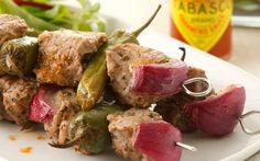 Alternate between pieces of pork and whole green chillies to make these Tabasco Habanero kebabs.