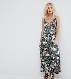 825cae09d350 ASOS PETITE Cami Satin Jumpsuit with Lace Up Front in Floral Print - M  Petite Jumpsuit