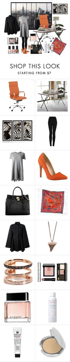 """In the office"" by nathalie-puex ❤ liked on Polyvore featuring WALL, Pacific Coast, West Elm, Trowbridge, Topshop, Balenciaga, Call it SPRING, Michael Kors, Hermès and Alexander McQueen"