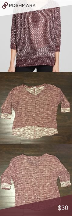Kut From The Kloth Nancy Top This is a Kut from the Kloth Nancy Top. It is v-Neck & quarter sleeve. It is a size large and is in great condition. It is maroon & cream. Kut from the Kloth Tops