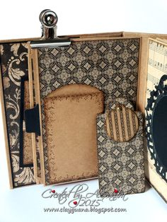 """I'm excited to share another mini album I created using gorgeous Graphic 45 papers """"Craft Reflections"""". It's not a ne. Mini Albums, Mini Scrapbook Albums, Diy Scrapbook, Recipe Scrapbook, Mini Photo Books, Mini Books, Handmade Journals, Handmade Books, Handmade Cards"""