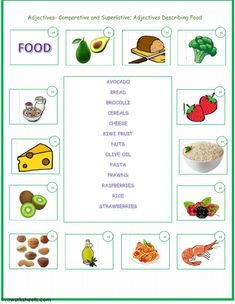 Comparison and Superlative of Adjectives Language: English Grade/level: Pre-intermediate School subject: English as a Second Language (ESL) Main content: Comparatives and superlatives Other contents: Adjectives describing food English Worksheets For Kids, School Subjects, Second Language, Esl, Food Project, Contents, Grammar, Exercises, Exercise Routines